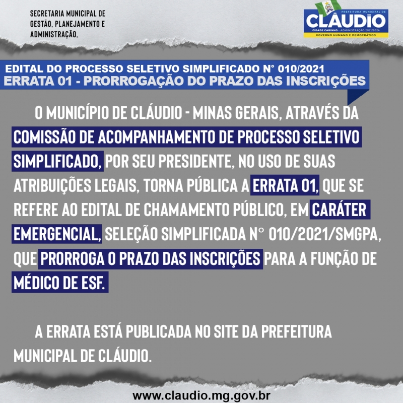Noticia errata-01---prorrogacao-do-prazo-das-inscricoes---selecao-simplificada-emergencial-n
