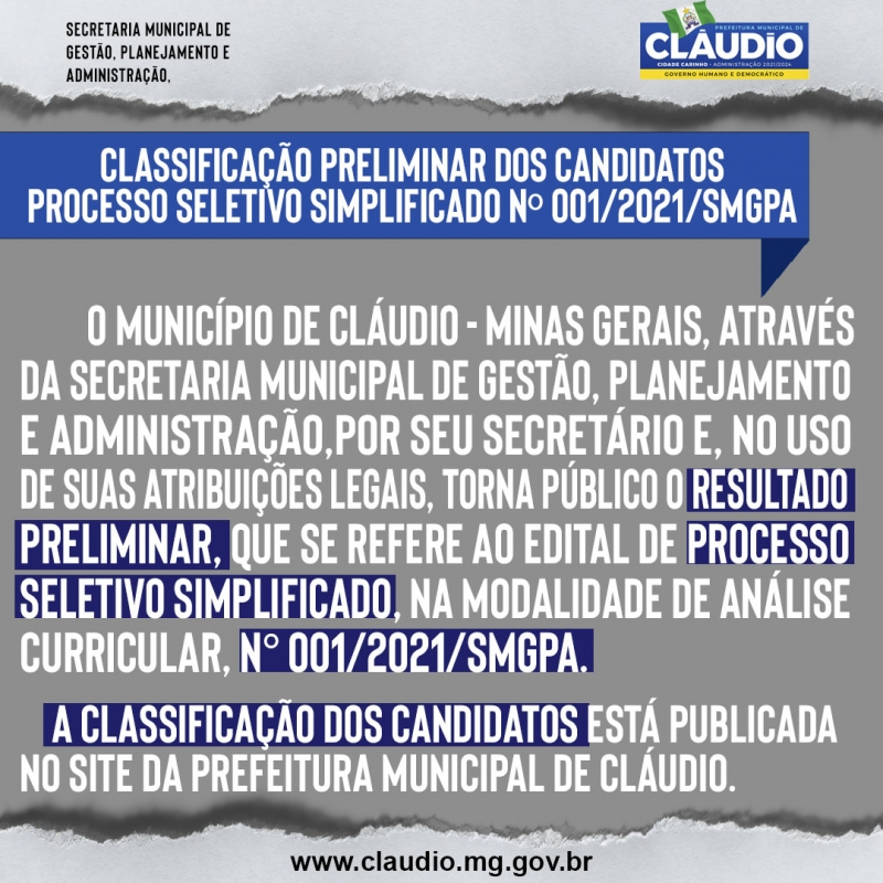 Noticia classificacao-preliminar-dos-candidatos---processo-seletivo-simplificado-n-012021smgpa